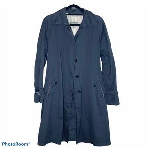 Allegri Black Button Up Trench Coat